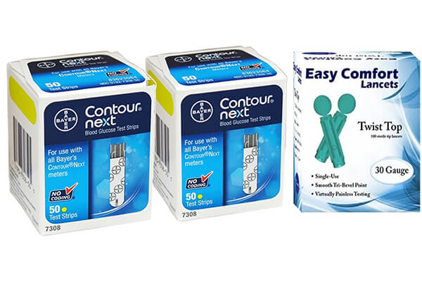 Bayer Contour Next Test Strips 100 Count, and 100 30g Lancets