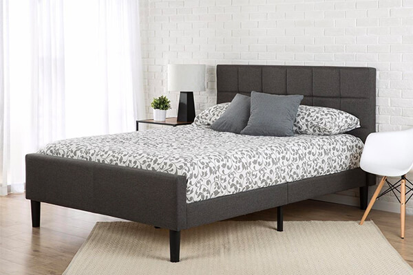 Zinus Upholstered Square Stitched Platform Bed with Footboard, Queen