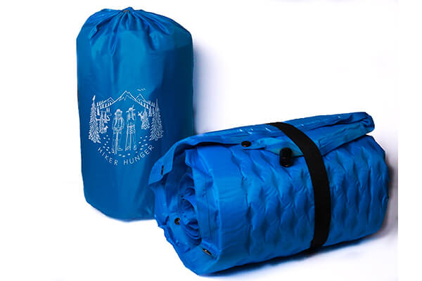 Hiker hunger ultra-lightweight self-inflating sleeping pad with attached pillow