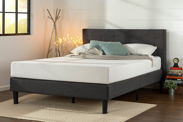 Zinus Upholstered Diamond Stitched Platform Bed with Wooden Slat Support, King
