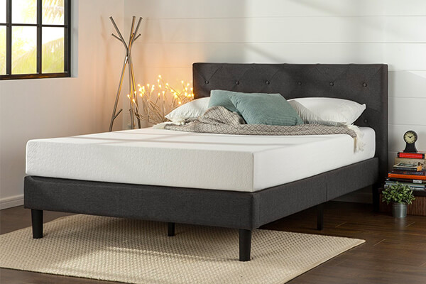 Zinus Upholstered Diamond Stitched Platform Bed with Wooden Slat Support, Queen