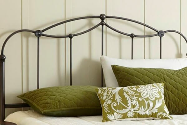 Affinity Metal Headboard Panel with Straight Spindles and Detailed Castings