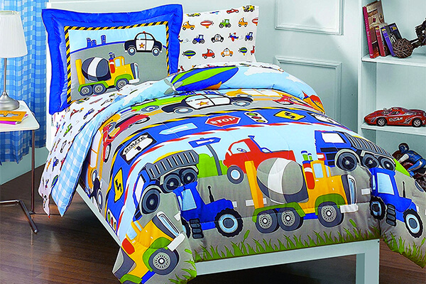 Tractors Cars Boys 5-Piece Comforter Sheet Set