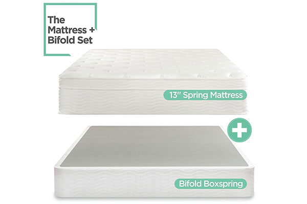 Sleep Master iCoil 13 Inch Euro Top Spring Mattress and BiFold Box Spring Set
