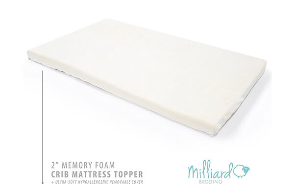 Milliard 2-Inch Ventilated Memory Foam Crib/Toddler Bed Mattress Topper