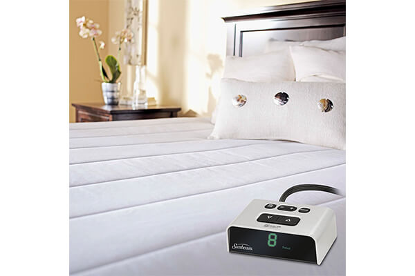 Sunbeam Vertical Quilted Heated Mattress Pad