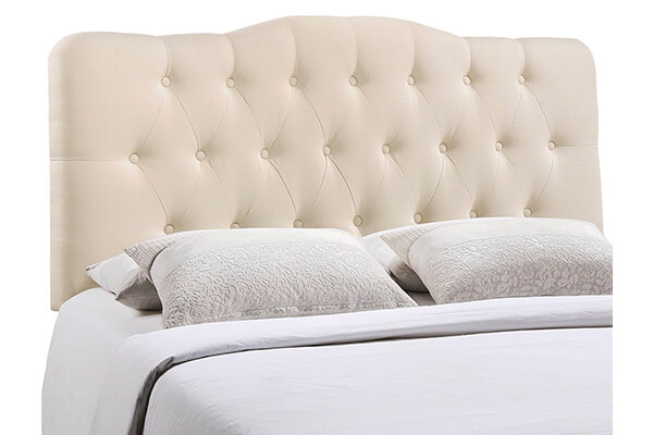 Modway Annabel Queen Upholstered Linen Headboard in Ivory