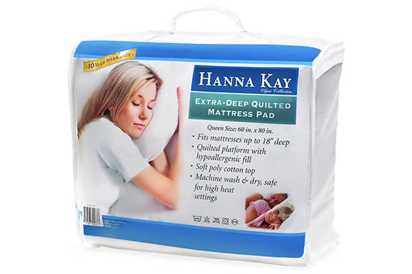 Hypoallergenic Quilted Stretch-to-Fit Mattress Pad by Hanna Kay