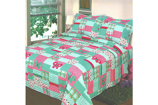 Fancy Collection 2 Pc Bedspread Teens/girls Pink Teal Butterfly Floral New Twin Size