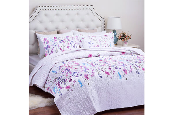 Printed Quilt Coverlet Set King Lilac Floral Pattern Lightweight