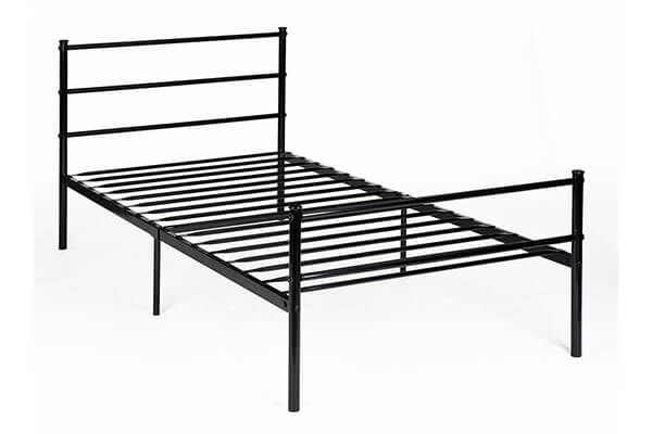 Metal Bed Frame Twin Size, GreenForest Two Headboards 6 Legs Mattress Foundation Black Platform Bed Frame