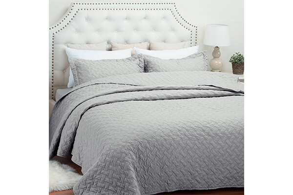 Quilt Set Solid Grey Full/Queen Basketweave Pattern