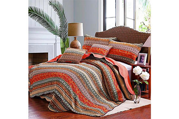Best Striped Classical Cotton 3-Piece Patchwork Bedspread Quilt Sets Queen