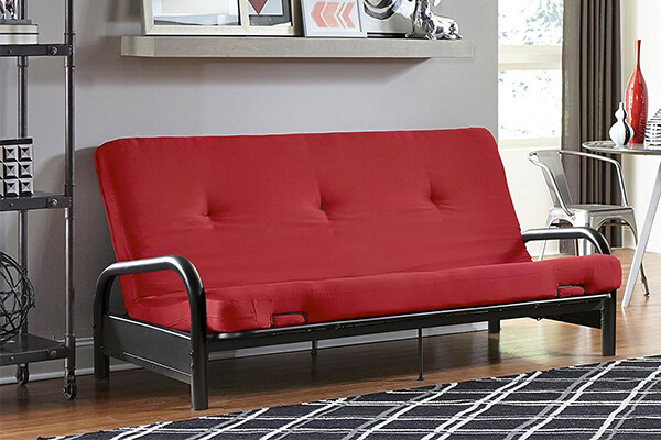 "DHP Black Metal Arm with 6"" Futon Mattress, Red"