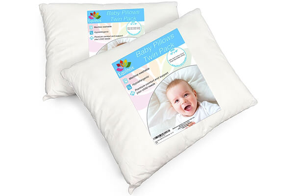 "[2-Pack] Equinox Baby Toddler Pillows - 100% Cotton Cover - 13"" x 18"""