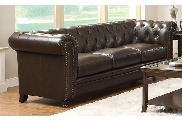 Coaster Home Furnishings Sofa, Black/Dark Brown