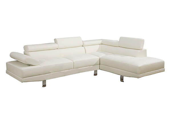 Poundex 2 Pieces Faux Leather Sectional Right Chaise Sofa