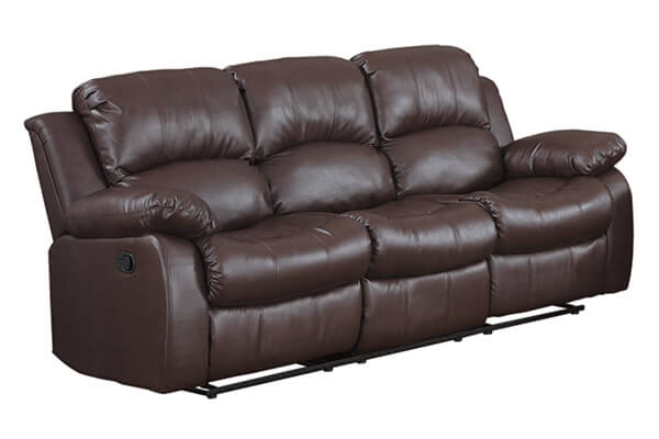 Case Andrea Milano 3 seat Sofa Double Recliner Black / Brown Bonded Leather
