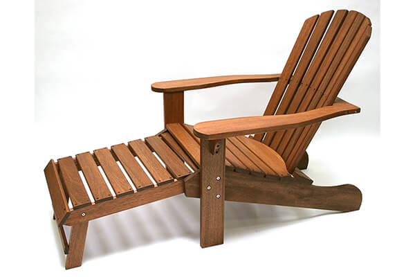 Outdoor Interiors CD3111 Eucalyptus Adirondack Chair and Built-In Ottoman