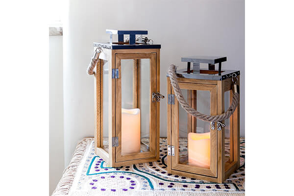 Lights4fun, Inc. Regular Wooden Battery Operated LED Flameless Candle Lantern