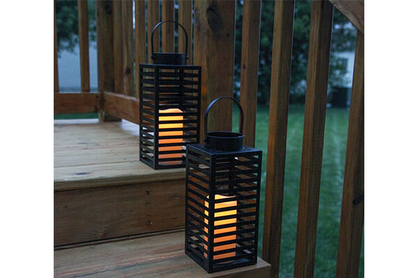"LampLust 2 Black 12"" Flameless Lanterns with 2 Ivory LED Resin Candles"