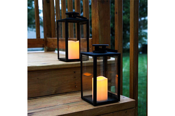 "LampLust 2 Black Glass 11"" Lanterns with Ivory Resin Candle"