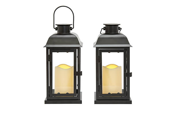 "LampLust 2 Black 11"" Solar Lanterns with Ivory Resin Candles"