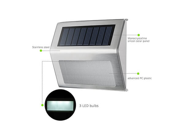 HowFine Outdoor Stainless Steel LED Solar Step Light