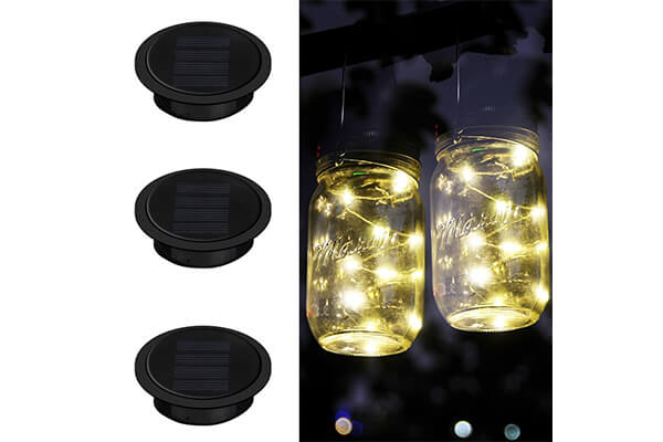 Mason Jar Lights, iThird 3 Pack 10 LED Warm White Solar Fairy Lights