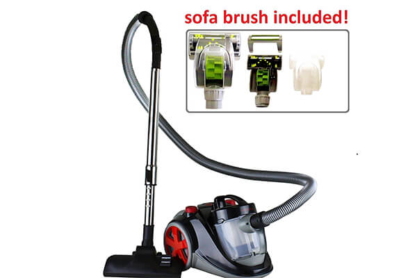 Ovente Bagless Canister Vacuum with Hepa Filter and Sofa/Pet Brush, Featherlite- Cyclonic - Corded