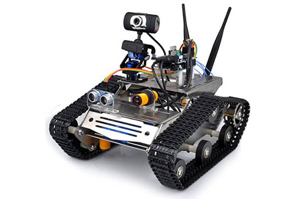 Kuman Sm5 Th Wireless Wifi Robot Car Kit with Video tutorial for Arduino, Utility Vehicle Intelligent Robotics, HD Camera Ds Robot Smart Educational Robot Kit for Kids