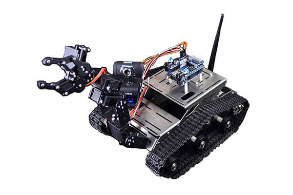 Makerfire Arduino FPV Robot Car Kit Wifi Utility Intelligent Vehicle Robotics HD Camera Wireless Android IOS PC Controls with Mechanical Arm