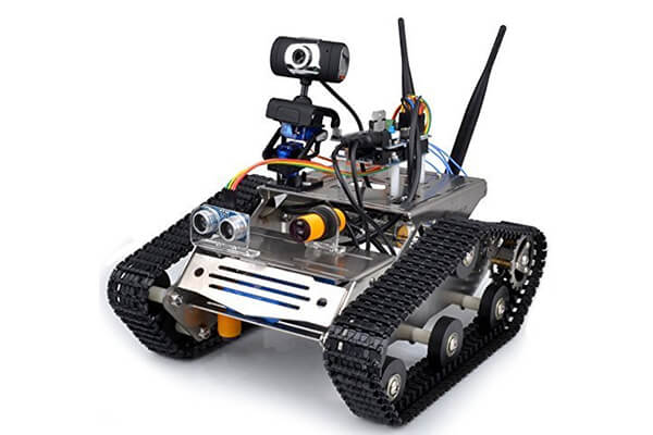 Longruner UNO Project Upgraded Smart Robot Car Kit with UNO R3, HD Camera Wireless Upgraded Smart Wifi DS Robot Car kit for Arduino with Antenna/Obstacle Avoidance/Line Tracking Module