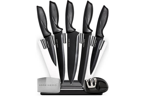 HomeHero 5-Piece Stainless Block Kitchen Knife Set