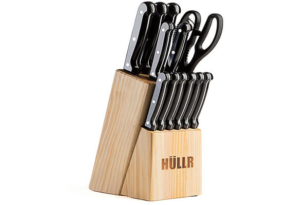 HULLR 14 Piece Kitchen Knife Set with Wooden Block