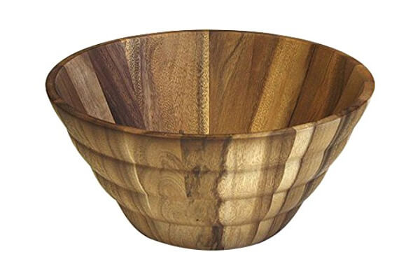 Mountain Woods Ribbed Acacia Wood Serving Bowl