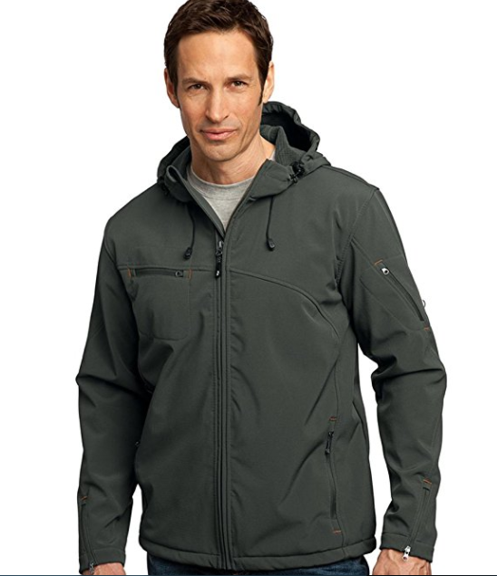 8. Port Authority Men's Water Resistant Hooded Jacket