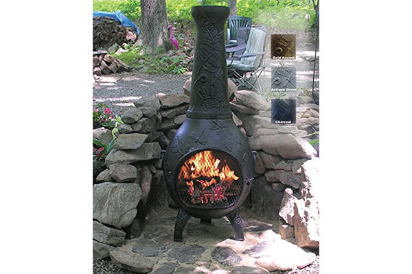 The Blue Rooster Co. Dragonfly Style Cast Aluminum Wood Burning Chiminea in Charcoal
