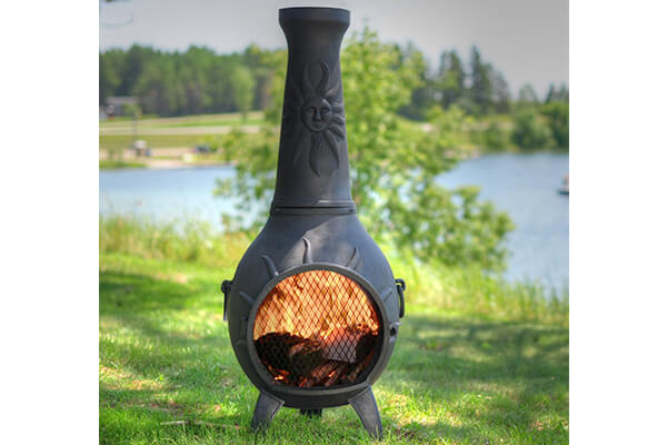 The Blue Rooster Co. Sun Stack Style Cast Aluminum Wood Burning Chiminea in Charcoal