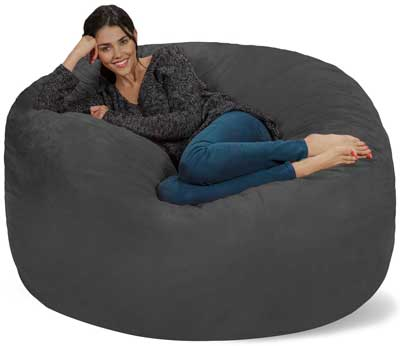 9. Chill Sack Bean Bag Chair: Giant Memory Foam Furniture Bags and Large Lounger - Big Sofa with Huge Water Resistant Soft Micro-Suede Cover - Charcoal, 5 feet