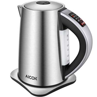 10. Aicok Electric Kettle Variable Temperature Control Water Kettle with 6 Temp Setting and Keep Warm Function 1.7L Stainless Steel Kettle, Auto Shut Off Boil Dry Protection, 1500W