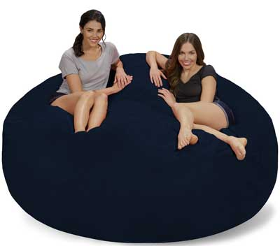 Chill Sack Bean Bags Large Bean Bag, 7 Feet, Navy Micro Suede