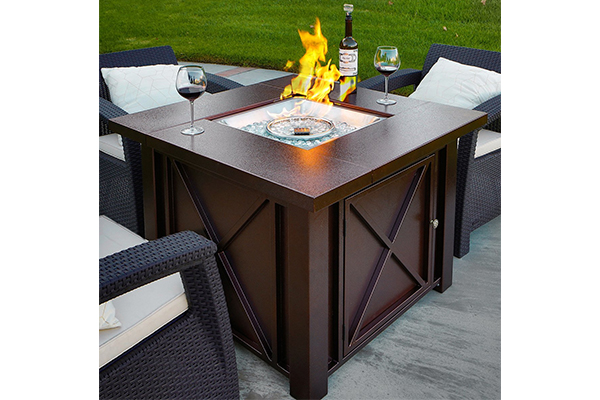 XtremepowerUS Out door Patio Heaters LPG Propane Fire Pit Hammered Bronze Steel Finish, Deluxe