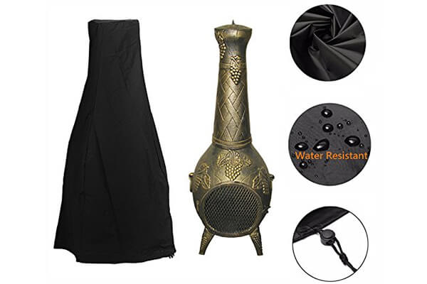 "Fellie Cover 24""Dia x 47""H Patio Chiminea Cover, Outdoor Garden Heater Cover Waterproof"