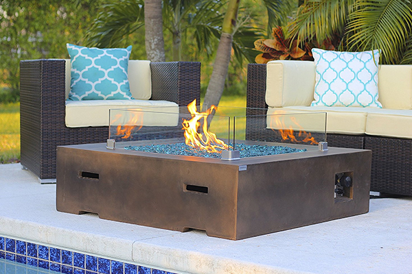 """42"""" x 42"""" Square Modern Concrete Fire Pit Table w/ Glass Guard and Crystals in Brown by AKOYA Outdoor Essentials (Onyx Black)"""