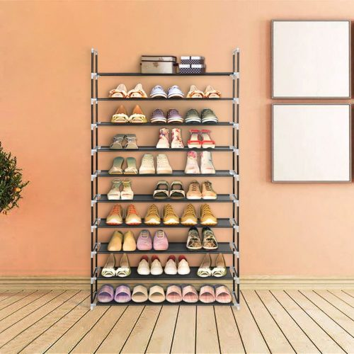 Blissun 10 Tiers Shoe Rack 50 Pairs Nonwoven Fabric Shoe Storage Organizer Cabinet Tower,