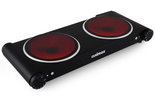 Cusimax CMIP-B180 1800W Infrared Cooktop,Ceramic Double Countertop Burner-Hotplates