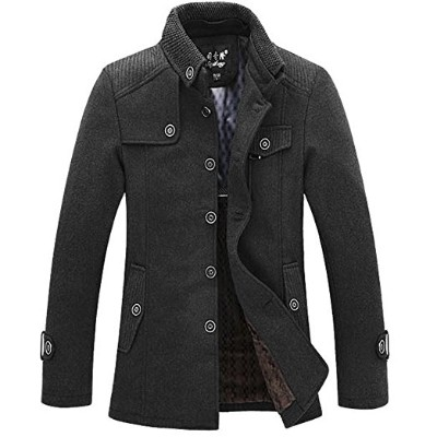 J-SUN-7 MEN Winter Wool Blend Classic Pea Suit Coat Single Breasted Thicken Slim Fit Jacket