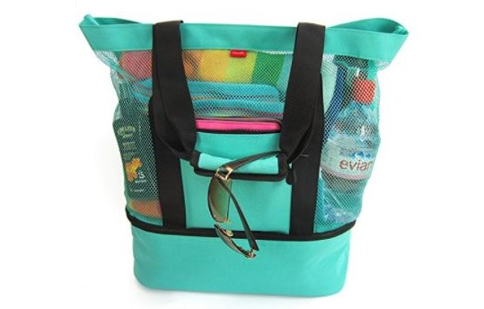 1. Aruba Mesh Beach Tote Bag with Zipper Top and Insulated Picnic Cooler and FREE Bonus Waterproof Cellphone Case