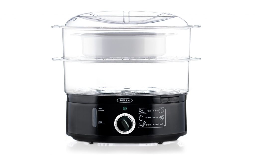 1. BELLA BLA13872 7.4 Quart Healthy Food Steamer, Dual Basket